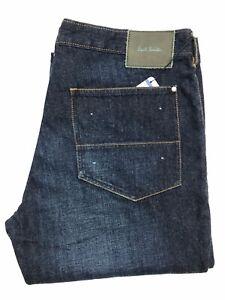BNWT-Nuovo-Da-Uomo-Paul-Smith-Slant-Tasca-Jeans-Blu-Chiusura-a-Bottone-Jeans-W33-L34