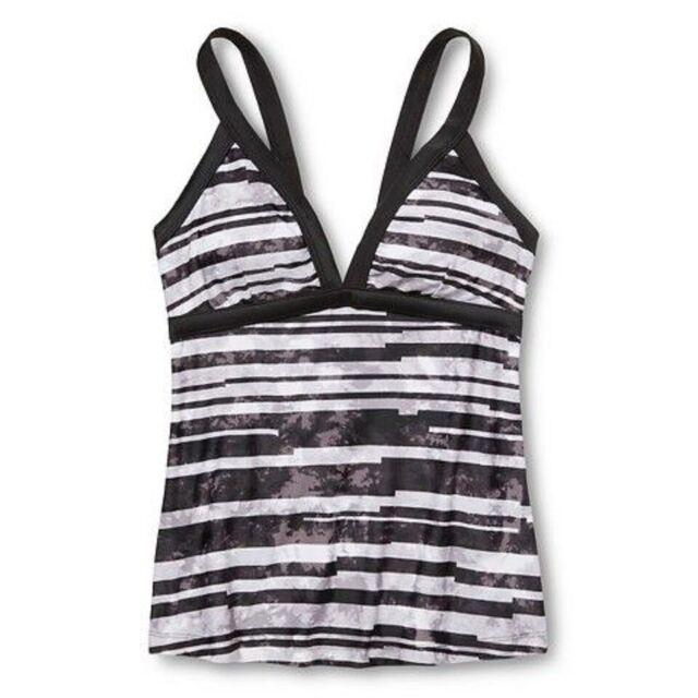 Gym wear Womens Multicolour Striped Racer back Tankini Swimwear Plus Size