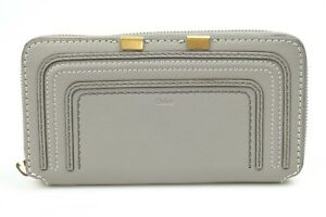 Chloe-Marcie-Long-gray-leather-zip-continental-wallet-clutch-purse-NEW-550