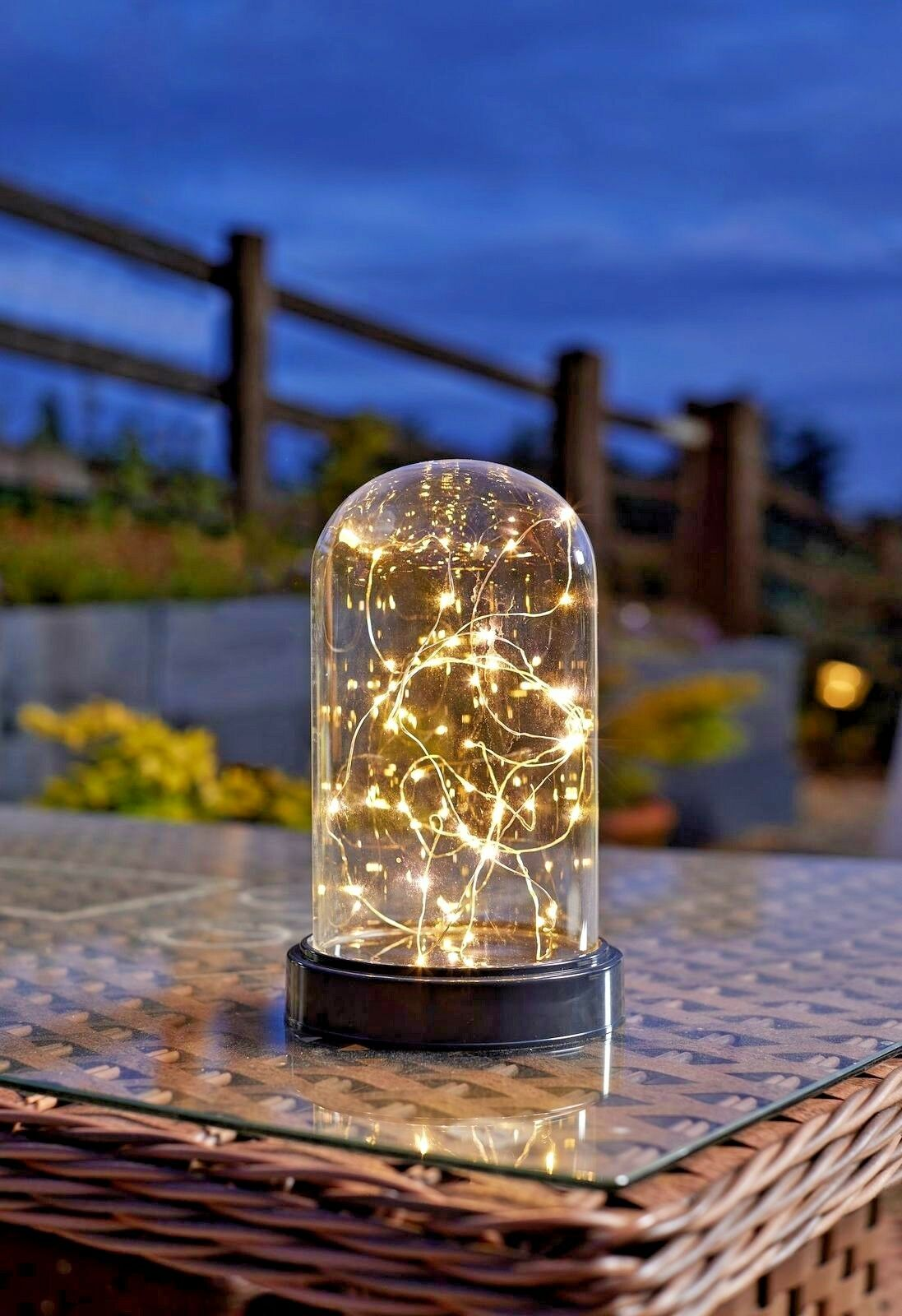 Transparent//White Rice Lights With Timer Glass 5 Star Lantern with Rope Handle