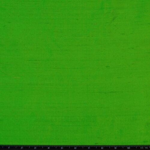 "100/% Silk Fabric By The Yard S-225 44/"" Wide Apple Green Dupioni Silk"