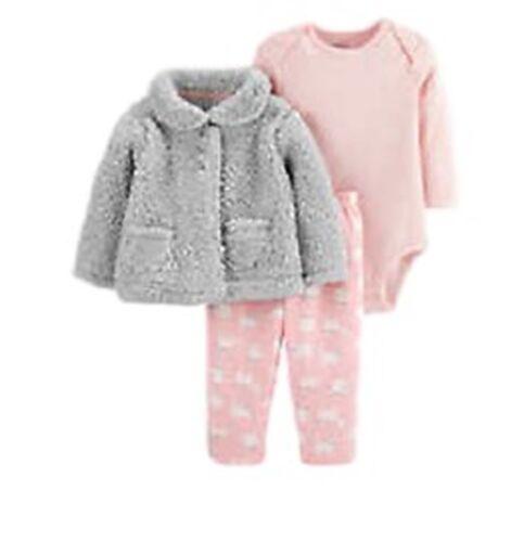Carter/'s Grey Fleece Jacket pants pink striped shirt NWT
