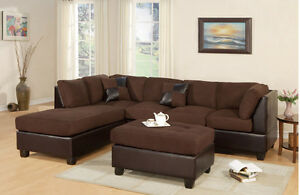 Image Is Loading Sectional Sofa Modern Fabric Microfiber Faux Leather  Sectional