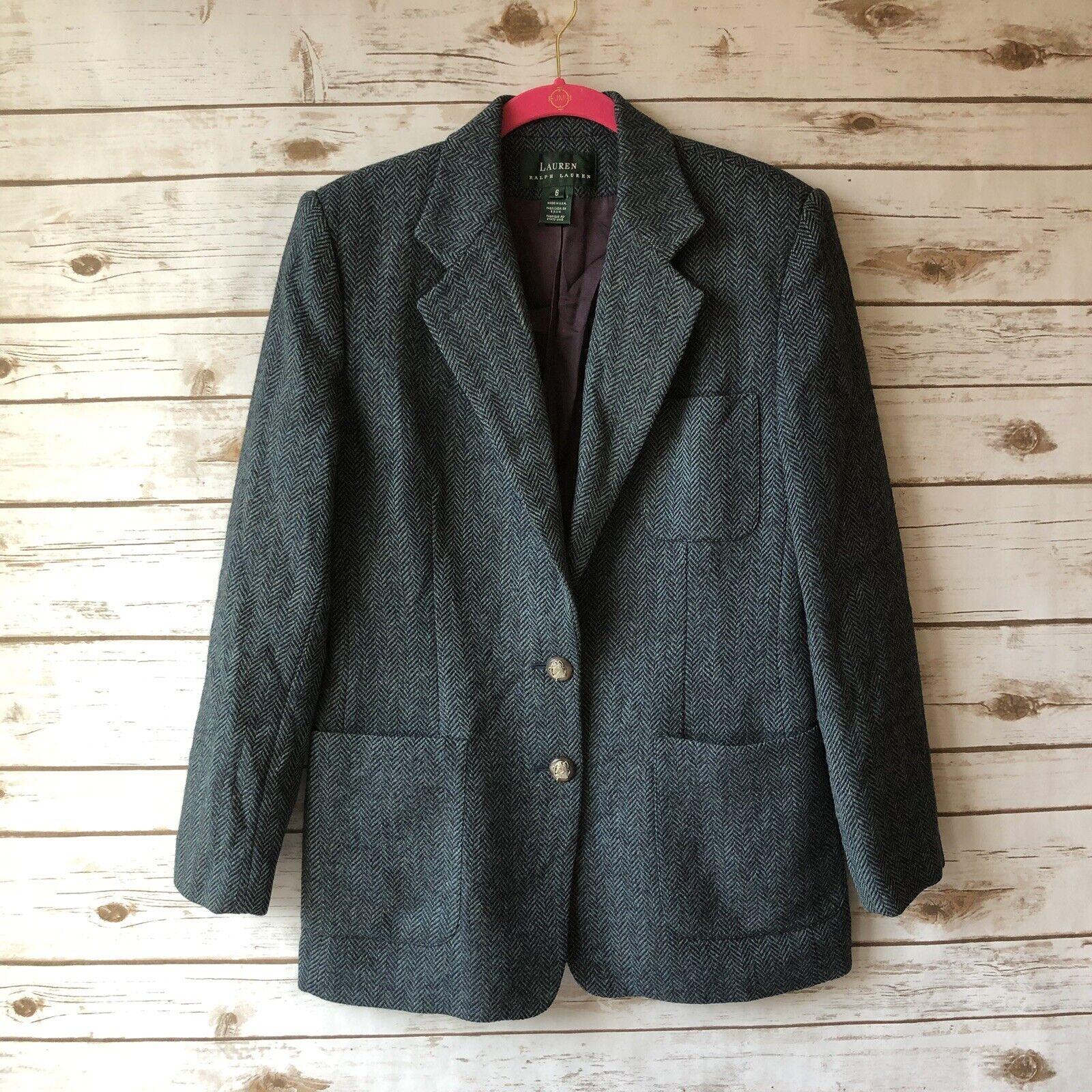 LRL Ralph Lauren Sz 6 bluee Herringbone 100% Shetland Wool Equestrian Blazer