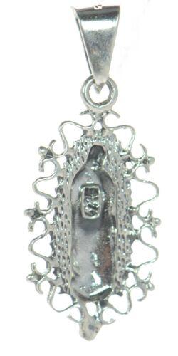 Solide Argent Sterling 925 Vierge Marie Notre Dame de Guadalupe pendentif.