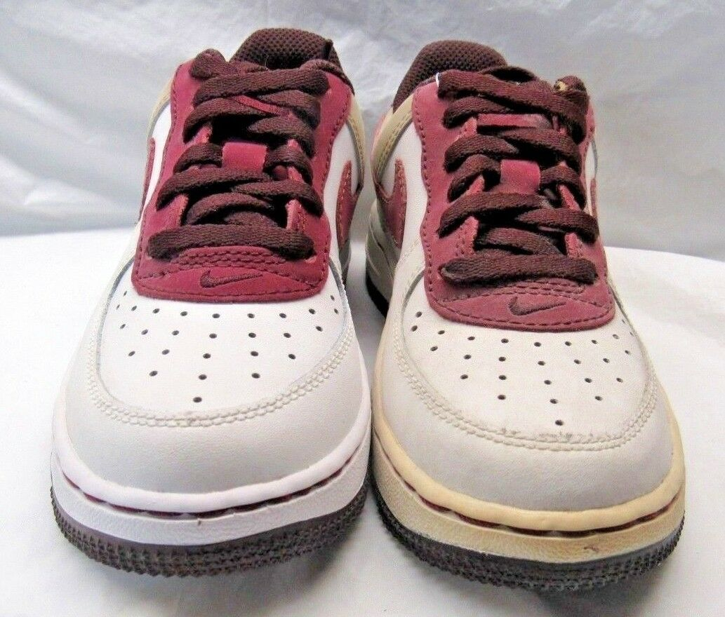 NIKE 314220-162 FORCE 1 (PS) White Tan Maroon Sneakers Size 12.5c