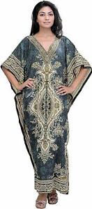 Hippy-Boho-Maxi-Grey-Long-Kaftan-Dress-Free-Size-Women-Caftan-Top-Dress-Gown
