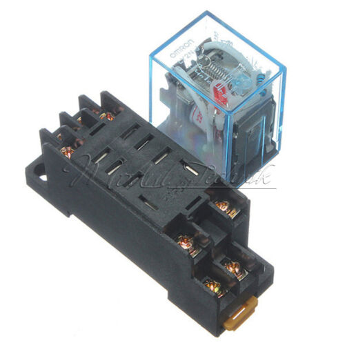 AC 220V DC12V Coil Power Relay 8Pin 10A DPDT LY2NJ HH62P HHC68A-2Z Socket Base