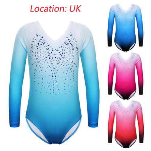 UK Warehouse Kids Girls Gradient Gymnastics Ballet Dance Training Leotards 3-14Y