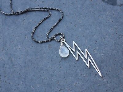 Moonstone Gem Raindrop White Lightning Sterling Silver Necklace- Lightning Bolt Pendant Sterling Silver Rope Chain free shipping USA