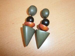 1 Paar Steckerohrringe-grün/braun/schwarz-Kunststoff-Modeschmuck - Lützelbach, Deutschland - 1 Paar Steckerohrringe-grün/braun/schwarz-Kunststoff-Modeschmuck - Lützelbach, Deutschland