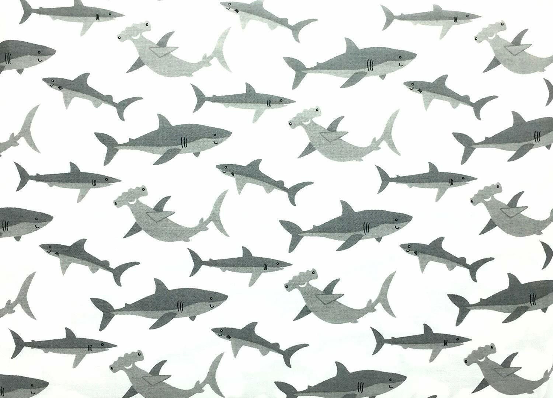 Authentic Kids White Grey Shark Sheet Set Hammerhead Sharks Twin NEW