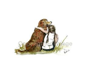 PRINT-of-lnk-amp-watercolour-ink-art-painting-Girl-with-dog-collectible-decor