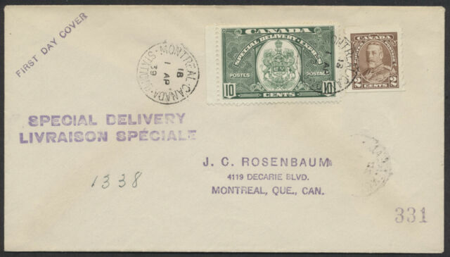 1939 #E7 10c Special Delivery FDC, Rosenbaum Production, Montreal Stn B CDS