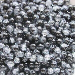 Crackle Glasperlen ca 6 mm Klar-Schwarz 60 Stück Kugel