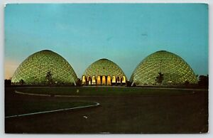 Milwaukee-Wisconsin-New-Horticultural-Conservatory-at-Night-Front-Entrance-1966