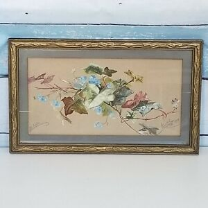Antique Victorian Oil Painting Ivy Signed Dated 1900 Matted Gilt Wood Frame