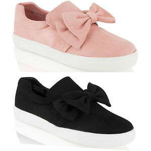 womens trainers slip on flat bow pumps sneakers