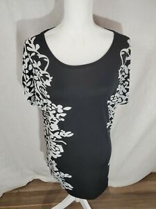 Women-039-s-Relipop-Black-and-White-Short-Sleeve-Floral-Top-Size-Large