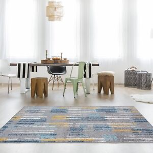 Teal Blue Ochre Yellow Paint Stroke Living Room Rugs Soft Warm