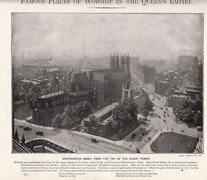 1897 Victoriano Estampado ~ Westminster Abbey Vista De Reloj Torre Londres +
