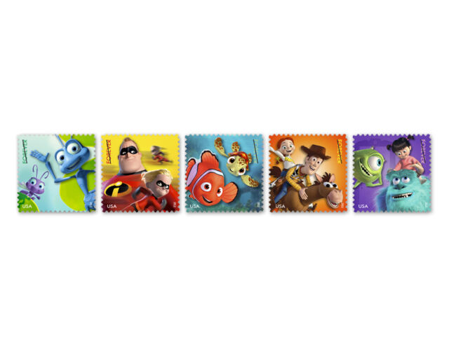 USPS New Mail A Smile Forever Self-Adhesive Stamps with Disney/Pixar Characters