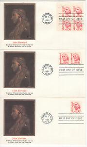 SSS-3-pcs-Fleetwood-FDC-1986-56c-John-Harvard-Great-Americans-Series-Sc-2190