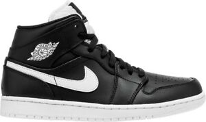 the best attitude b4dc5 3ea14 Image is loading Nike-Air-Jordan-1-Mid-Black-White-Size-