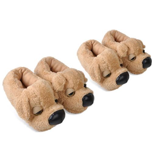 Plusch Hund Hausschuhe Pantoffeln Slipper Schlappen Tierhausschuhe Damen Herren
