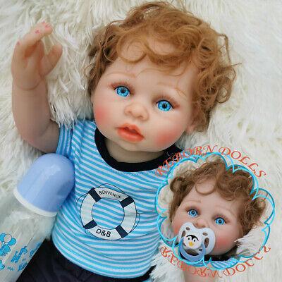 "Reborn Baby Dolls 19/"" Girl Full Body Vinyl Silicone Curly Hair Bath Waterproof"