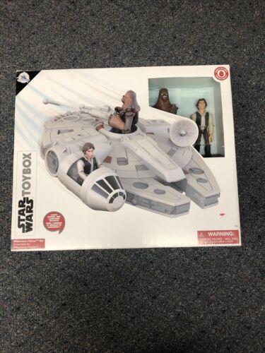 Disney Store MILLENNIUM FALCON STAR WARS PLAY SET Toybox HAN SOLO CHEWBACCA NEW