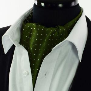 Moss-Green-Foulard-Blanc-A-Pois-Cravate-Ascot-tie-Silver-Silk-A37