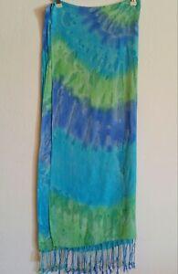 Womens-Fashion-Scarf-Tie-Dye-Large-Green-Blue-Violet-Fringe-Detail-35-034-x-27-034-NWT