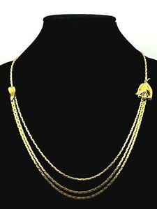 """Vintage Christian Dior Germany Unsigned GoldTone 3 Stand 24"""" Necklace w/Leaves"""