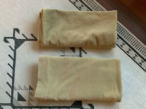 Vintage-Gold-Cotton-Velvet-Curtains-Pair-Rod-Pocket-2-Panels-40-X-81-5-Boho-Warm