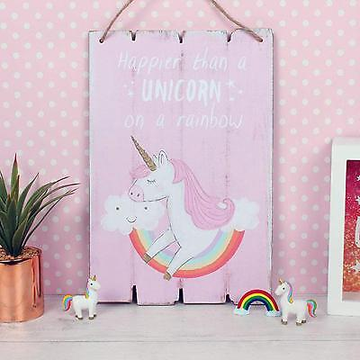 Happier Than A Unicorn On A Rainbow Magical Bedroom Plaque Sign