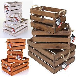 Vintage rustic crates hamper wooden slatted apple display for Vintage wooden storage boxes