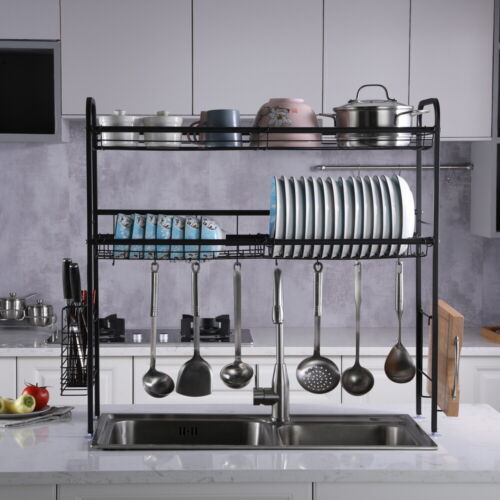 Over Sink Dish Drying Rack Stainless Steel Kitchen Cutlery Drainer Shelf Holder