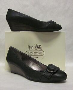 2be1868fc32 Image is loading Coach-Millie-Black-Vintage-Wax-Wedge-Heel