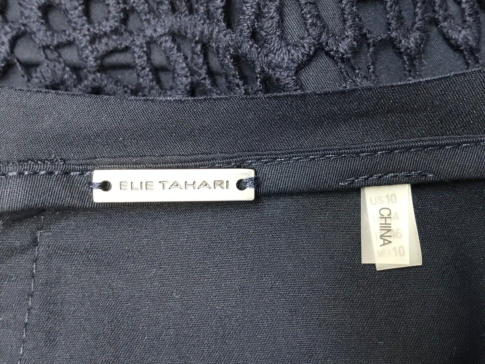 ELIE TAHARI DRESS DRESS DRESS NAVY COTTON AMAZING 2 LAYERS OF BROCADE LACE SIZE IT 46 US 10 fa275c