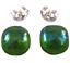 Glass-Earrings-Emerald-Green-Iridescent-Metallic-Teal-Green-Post-1-4-034-8mm-STUDS thumbnail 1