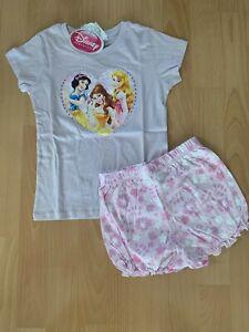 TOP Süsser Schlafanzug Shorty Pyjama DISNEY Princess flieder Gr. 92 - 128 NEU