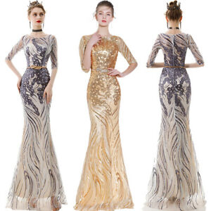New-Evening-Formal-Party-Ball-Gown-Prom-Bridesmaid-Fishtail-Sequins-Dress-YSGZ42