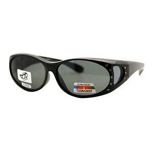 07c7b3adc2 Image is loading Womens-Fit-Over-Glasses-Polarized-Sunglasses-Oval- Rhinestone-