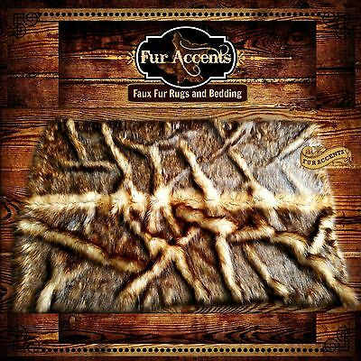 FUR ACCENTS Exclusive Faux Fur Bear Skin Root Rug Area Throw Carpet Wolf Coyote