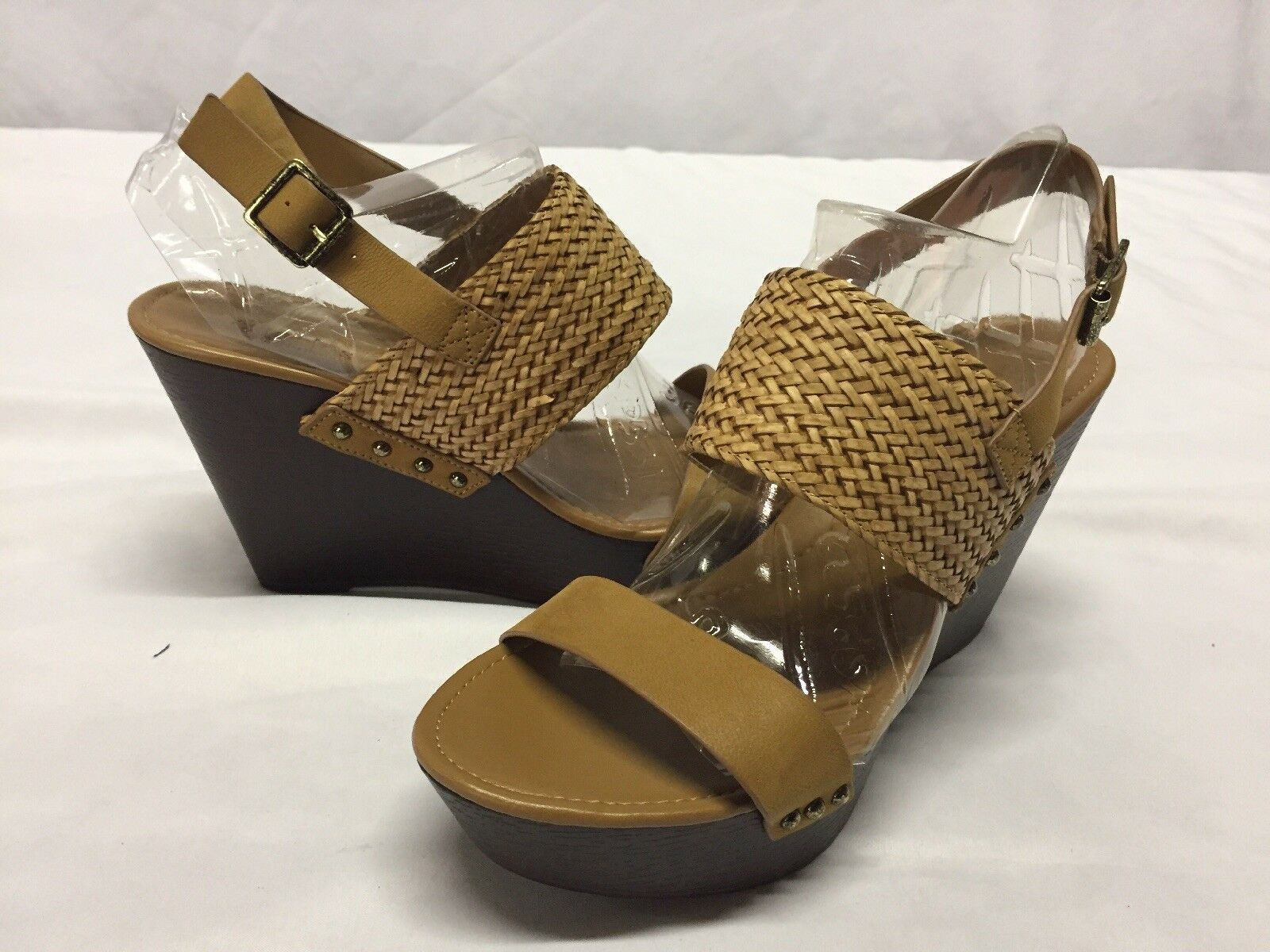 Charles By Charles David Wedge Sandals, Tan, Size 9 M ...HEEL 3