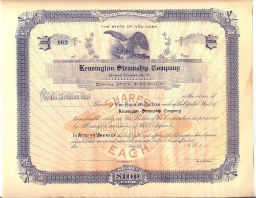 Kensington Steamship Company Stock Certificate Grand Island New York