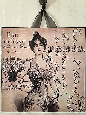 Paris Plaque Wall Decor Sign French Country Cottage Shabby Cologne Corset