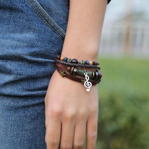 Women Music Note Star Crystal Beaded Adjustable Leather Bangle Bracelet Fashion