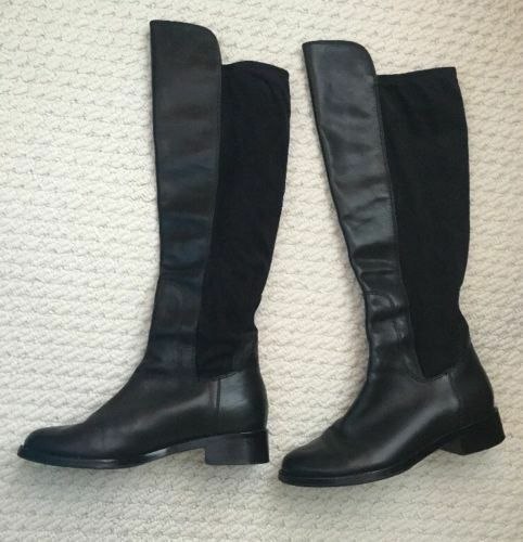 Cole Haan-Black Leather Pull-on-Tall Riding Boots Size 6 Excellent Condition